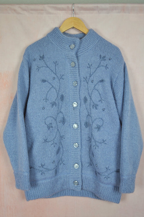 Vintage Embroidered Mohair Blend Cardigan