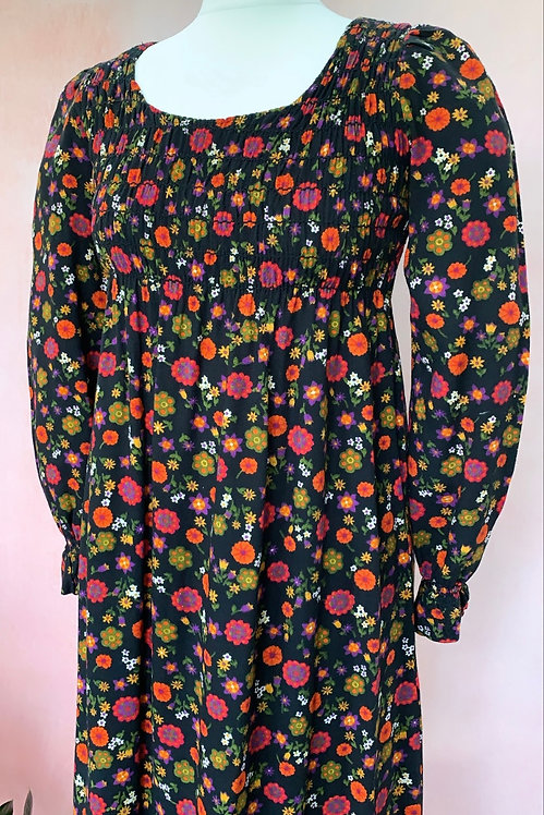 Late 1960s/1970s Floral Maxi with Shirred Bust