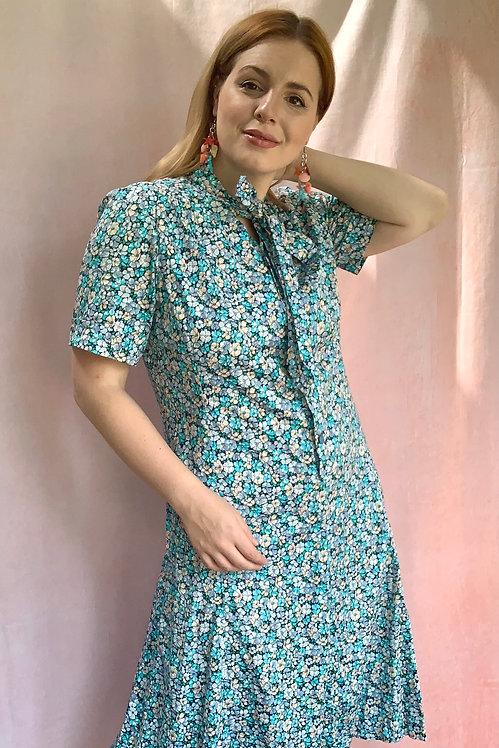 Azure - Handmade Cotton Floral Dress