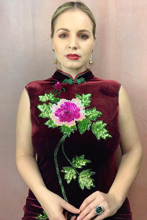 Embellished Velvet Maxi Dress