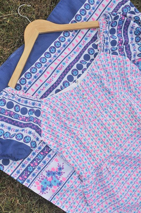 The Oaken Pin - 1970's Puff Sleeve Maxi Dress