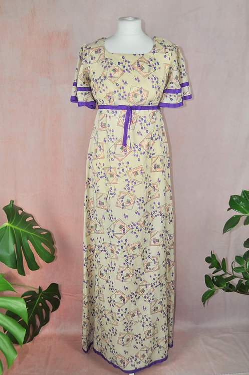 1970's Geo Floral Print Maxi Dress by Peterson Maid