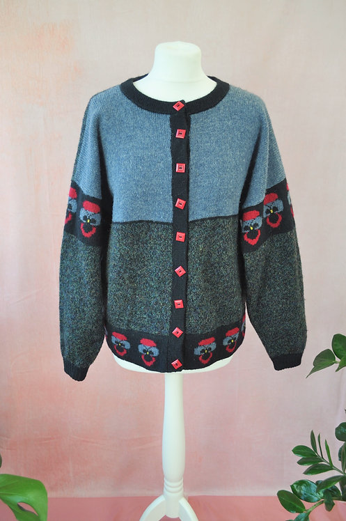 Vintage Pansy Pure Wool Cardigan