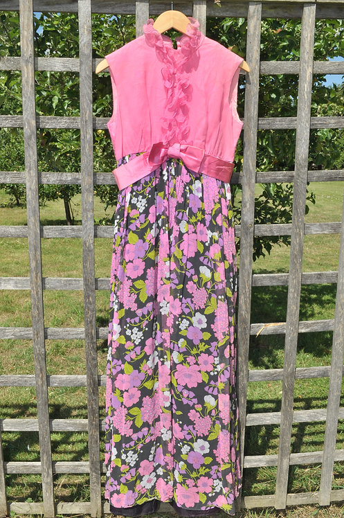 The Geranium - 1960's Maxi Dress with Ruffle Front