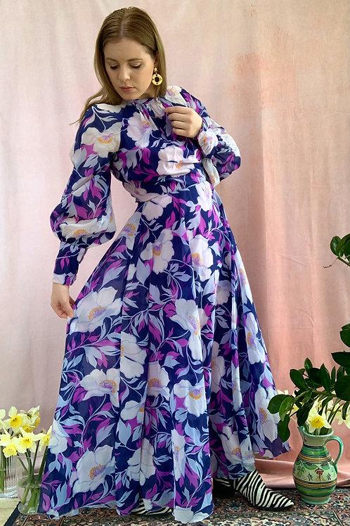 Ophelia - Vintage 1970's Floral Maxi Dress
