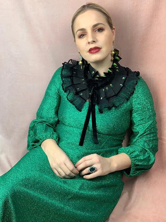 1960s Glittery Green Maxi Dress