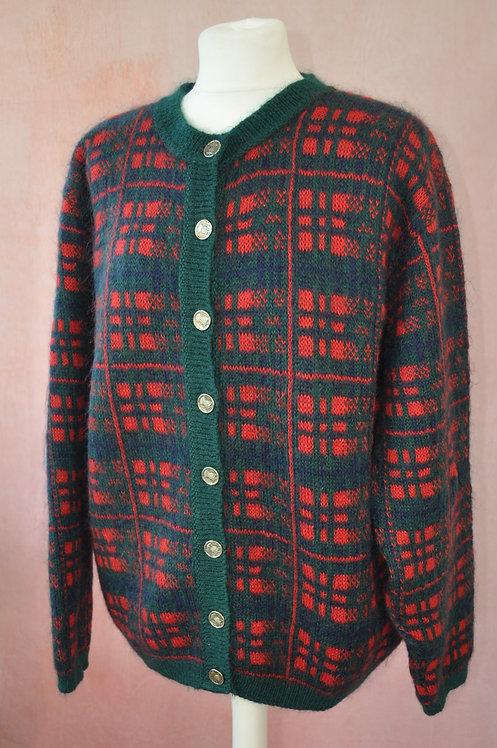 Vintage Mohair Blend Check Cardigan