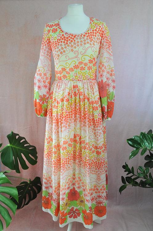 1970s Floral Maxi Dress by Elizabeth Tees