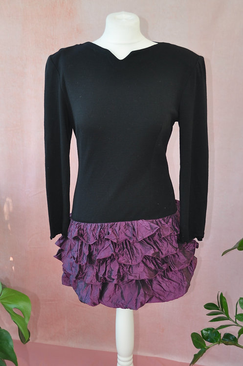 1980's Mini Dress with Ruffle Taffeta Skirt