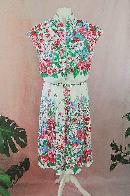 1980's Floral Print Dress, Bolero & Belt Co-Ord