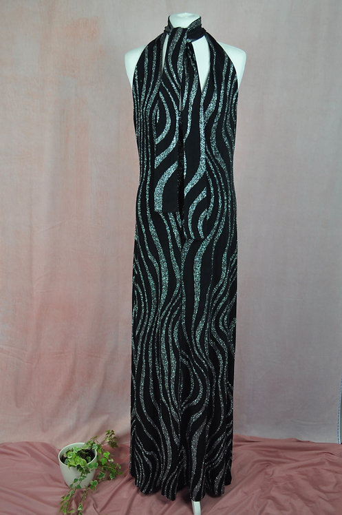 Vintage Spandex Disco Halterneck Maxi Dress
