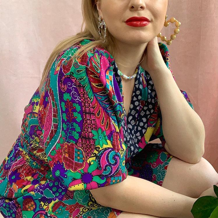 Tropical Dreams - 1980s Kanga Collection Mini Dress