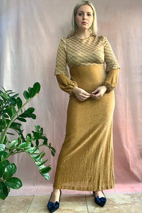 1970's Gold Check Lurex Maxi Dress