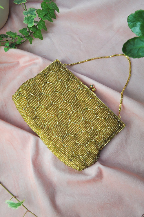 Vintage Gold Beaded Bag