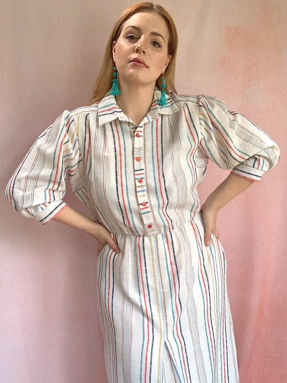 Staycation - 1980s Multicoloured Stripe Linen Dress