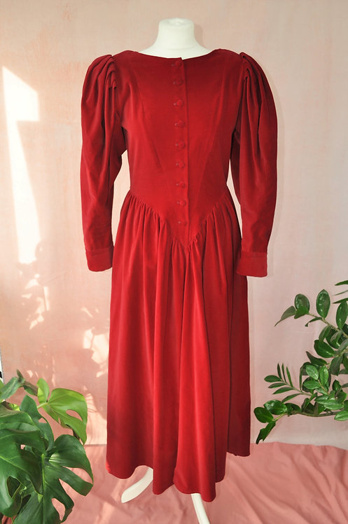 1980's Red Velvet Midaxi Dress by Droopy & Browns