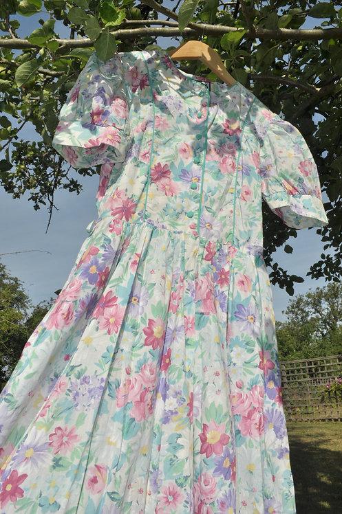 The Apple Blossom - 1980's Floral Tea Dress