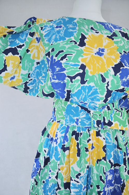 1980's Droopy & Browns Belted Maxi Dress