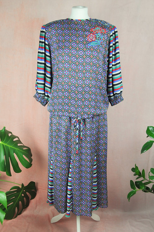 1980's Blouse & Maxi Skirt Co-Ord Set by Mayeelok
