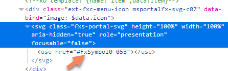 """HTML code with """"use"""" reference for the icon"""