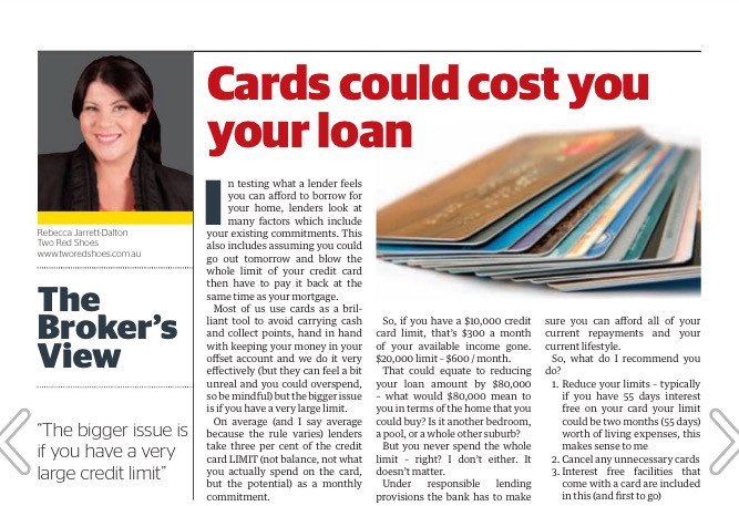 Credit cards impact on your borrowing capacity I Two Red Shoes mortgage broker sydney