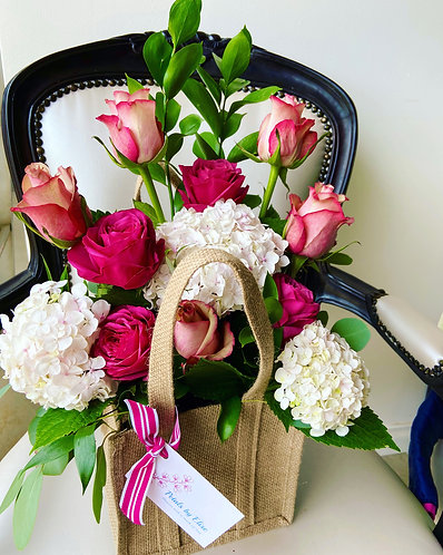 Hessian Bag of Flowers