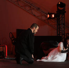 Kyle Albertson, Bass-Baritone in the role of Scapia and Elizabeth Blancke-Bigss as Tosca