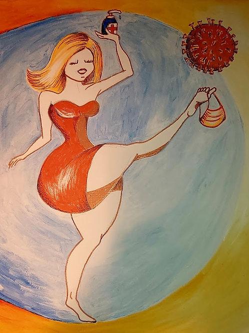 Illustratie op canvas - Corona