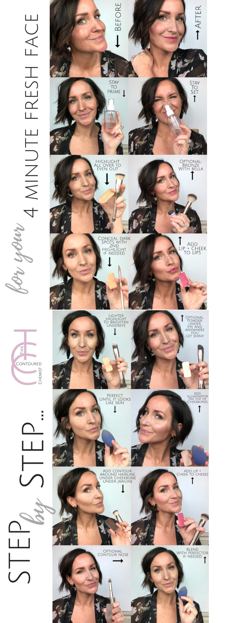 Step by step tutorial with Maskcara Beauty to HAC highlight and contour fast