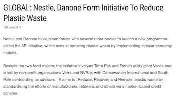 GLOBAL: Nestle, Danone Form Initiative To Reduce Plastic Waste