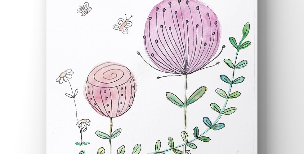 "Aquarelle ""Fleurs zen"""