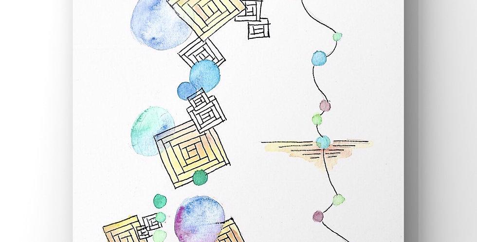 """Aquarelle """"géométrie abstraite"""""""