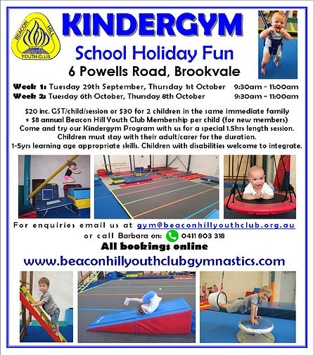 BHYC Kindergym October School Holiday Fl