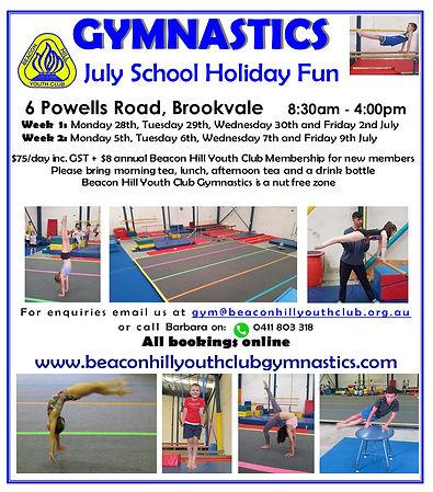 BHYC July 2021 Gymnastics Holiday Flyer.