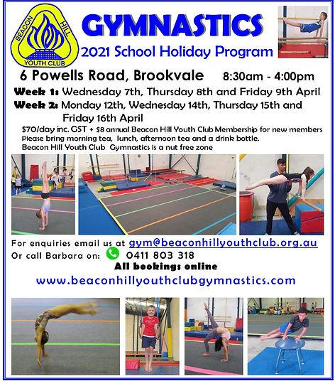 BHYC Gymnastics April 2021 Holiday Flyer