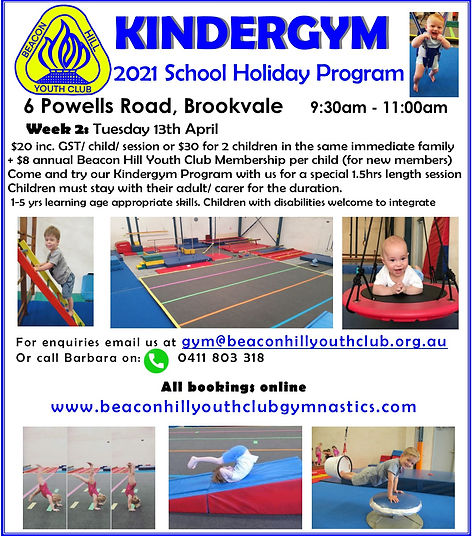 BHYC Kindergym April 2021 Holiday Flyer.