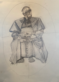 Study of Vigano for a Printmaking Wood Engraving