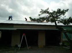 農業倉庫屋根葺き後