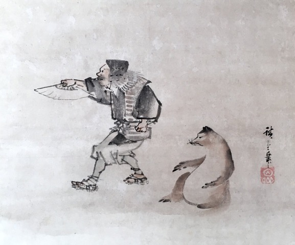 歌川広重 (初代)「 猟師と狸図」