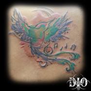 watercolor hummingbird & music on brown