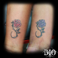 matching tiny rose infinity on dark skin