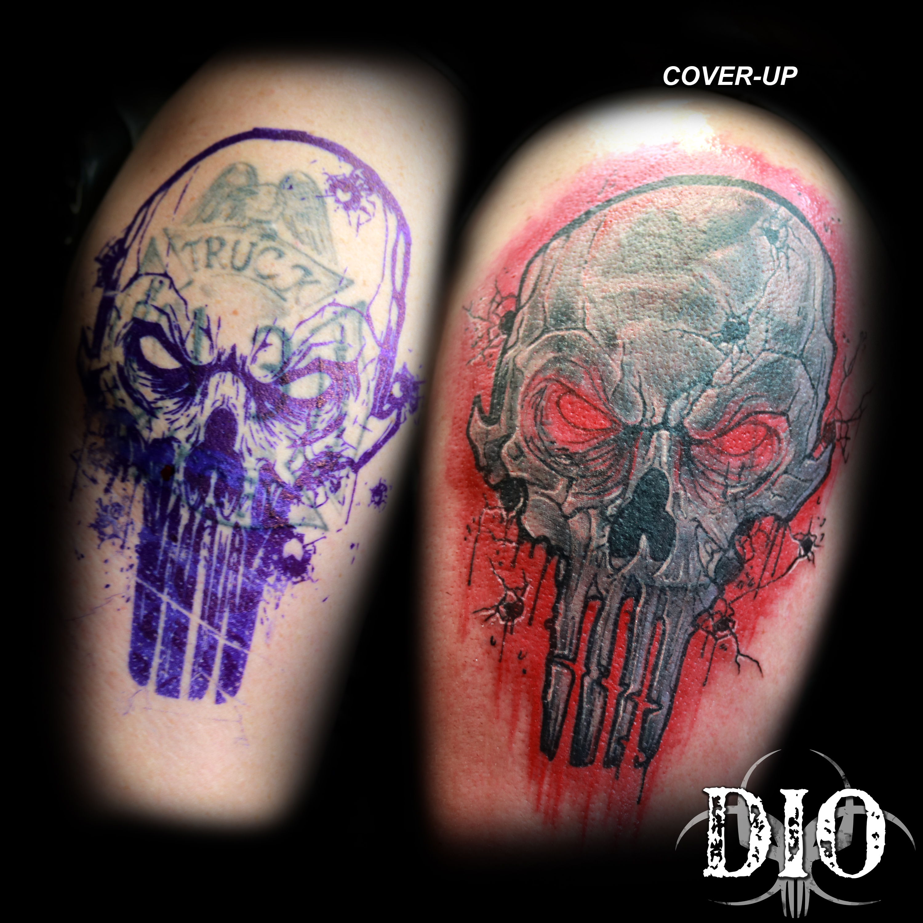 realistic punisher skull coverup