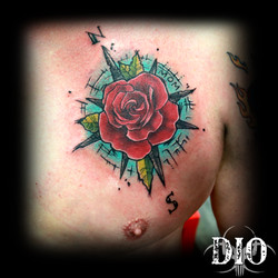 rose compass on chest