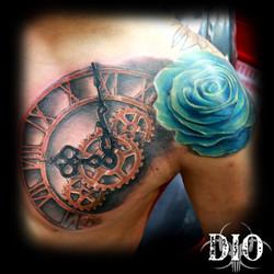 realistic blue rose & clock