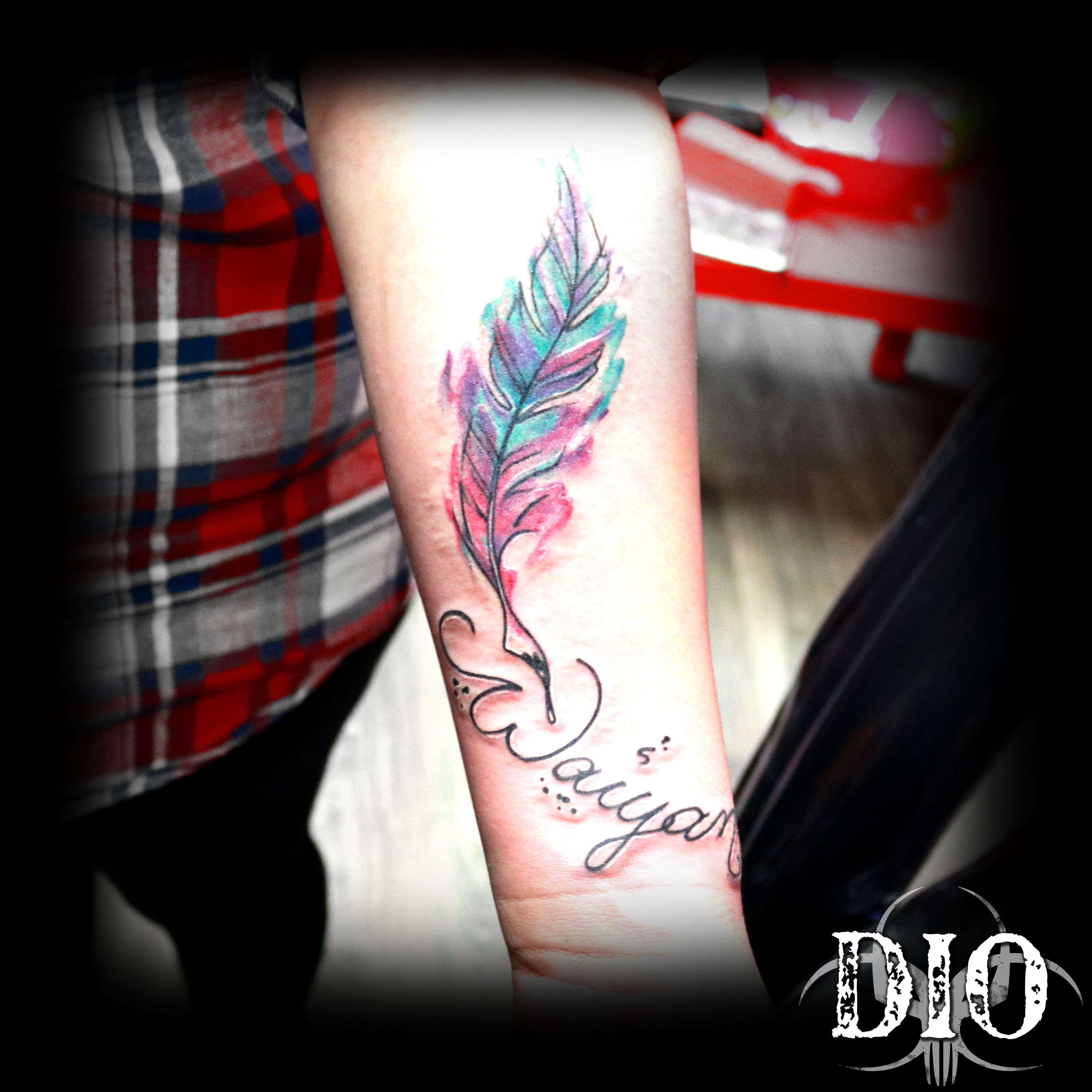 watercolor feather & name