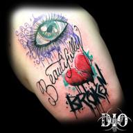 beautifully broken heart & eye script le