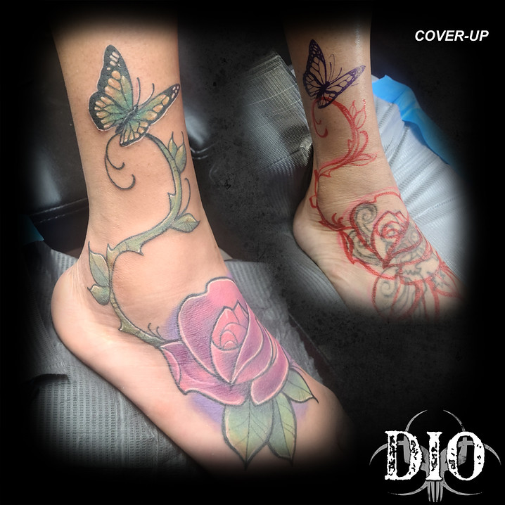 rose with vine & butterfly on foot and c