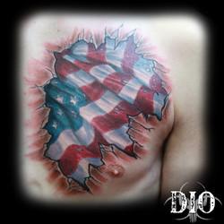 US flag cracked skin on chest