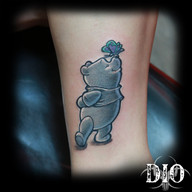 black & grey winnie the pooh with color