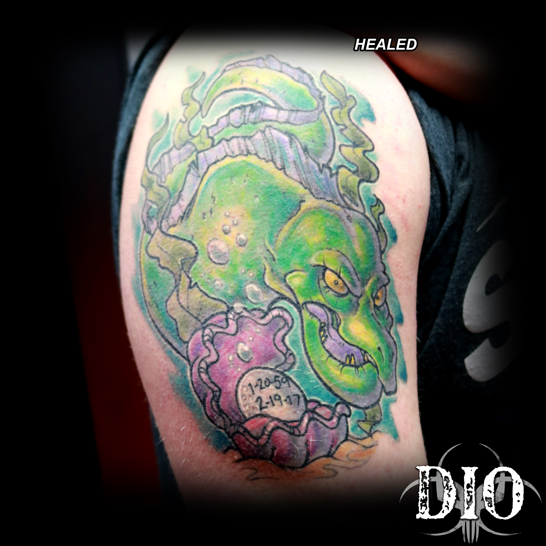 eel & clam memorial tattoo healed